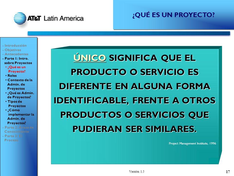Versión 1.5 17 ÚNICO SIGNIFICA QUE EL PRODUCTO O SERVICIO ES DIFERENTE EN ALGUNA FORMA IDENTIFICABLE, FRENTE A OTROS PRODUCTOS O SERVICIOS QUE PUDIERAN SER SIMILARES.