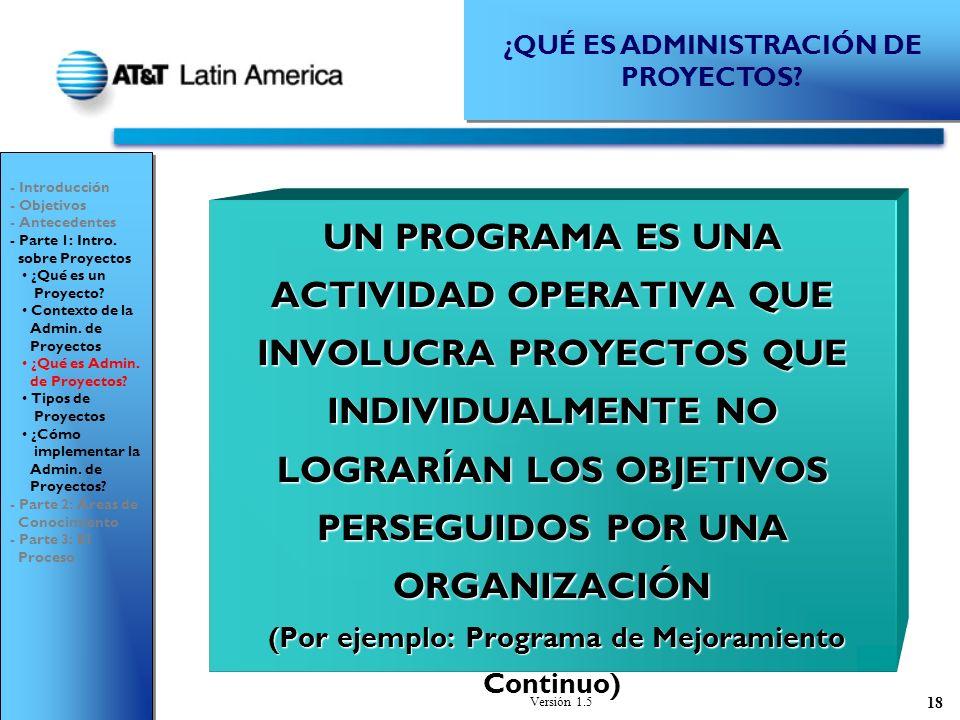 Versión 1.5 18 UN PROGRAMA ES UNA ACTIVIDAD OPERATIVA QUE INVOLUCRA PROYECTOS QUE INDIVIDUALMENTE NO LOGRARÍAN LOS OBJETIVOS PERSEGUIDOS POR UNA ORGANIZACIÓN (Por ejemplo: Programa de Mejoramiento Continuo) (Por ejemplo: Programa de Mejoramiento Continuo) Project Management Institute, 1996 ¿QUÉ ES ADMINISTRACIÓN DE PROYECTOS.