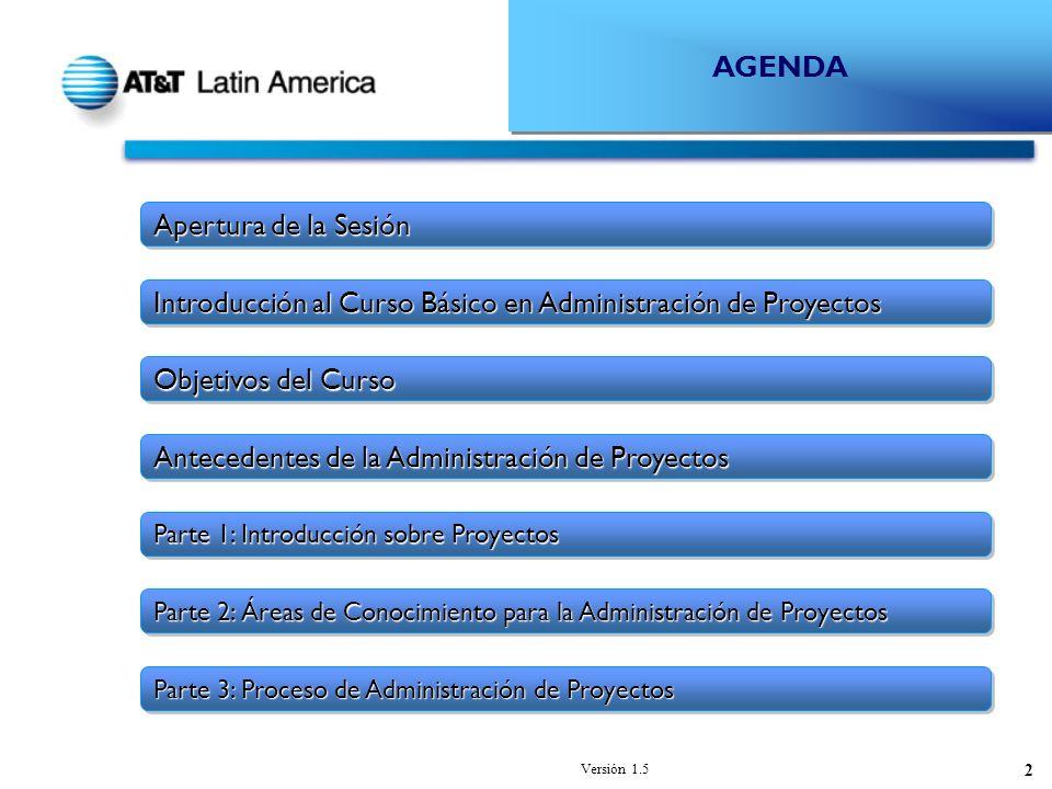 Versión 1.5 2 AGENDA Introducción al Curso Básico en Administración de Proyectos Objetivos del Curso Parte 1: Introducción sobre Proyectos Parte 2: Áreas de Conocimiento para la Administración de Proyectos Parte 3: Proceso de Administración de Proyectos Antecedentes de la Administración de Proyectos Apertura de la Sesión