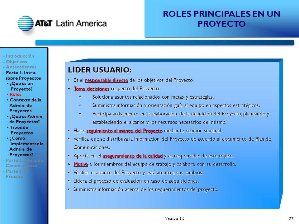 Versión 1.5 22 ROLES PRINCIPALES EN UN PROYECTO LÍDER USUARIO: Es el responsable directo de los objetivos del Proyecto.Es el responsable directo de los objetivos del Proyecto.