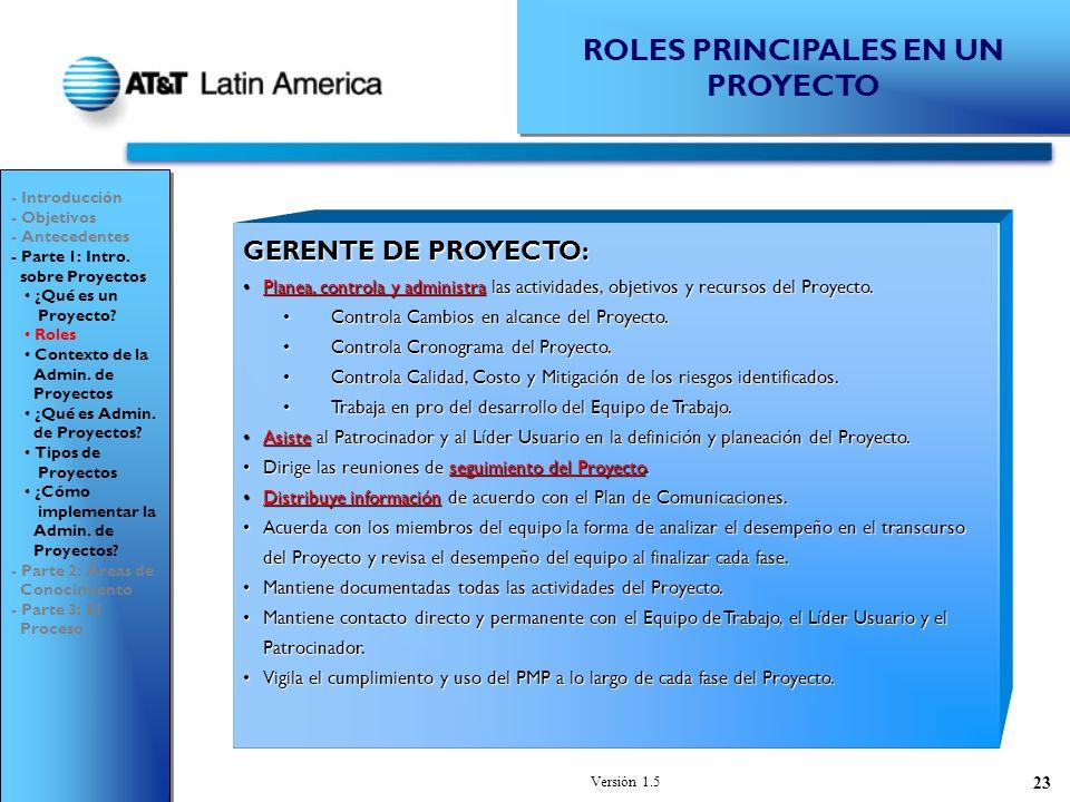 Versión 1.5 23 ROLES PRINCIPALES EN UN PROYECTO GERENTE DE PROYECTO: Planea, controla y administra las actividades, objetivos y recursos del Proyecto.Planea, controla y administra las actividades, objetivos y recursos del Proyecto.