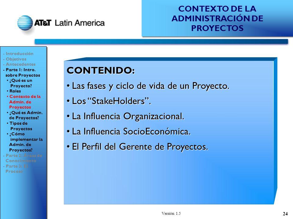 Versión 1.5 24 CONTENIDO: Las fases y ciclo de vida de un Proyecto.Las fases y ciclo de vida de un Proyecto.