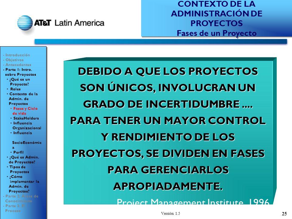 Versión 1.5 25 DEBIDO A QUE LOS PROYECTOS SON ÚNICOS, INVOLUCRAN UN GRADO DE INCERTIDUMBRE....