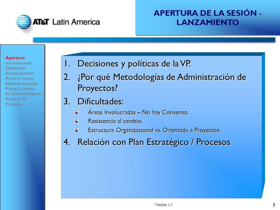 Versión 1.5 3 1.Decisiones y políticas de la VP.