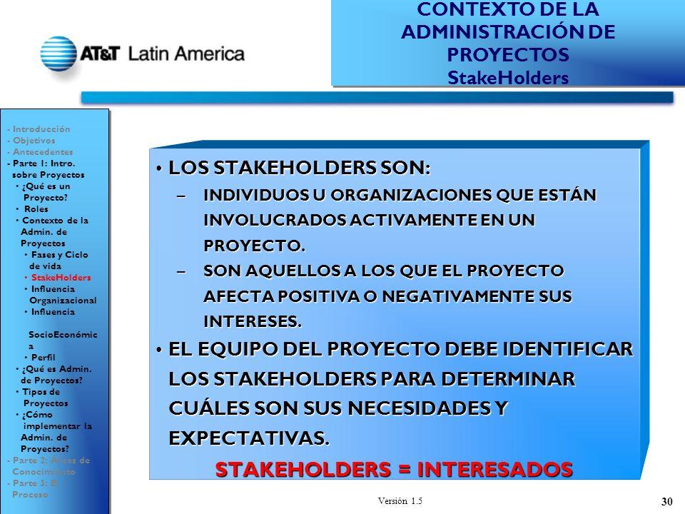 Versión 1.5 30 LOS STAKEHOLDERS SON:LOS STAKEHOLDERS SON: –INDIVIDUOS U ORGANIZACIONES QUE ESTÁN INVOLUCRADOS ACTIVAMENTE EN UN PROYECTO.