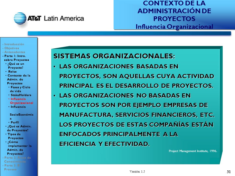 Versión 1.5 31 SISTEMAS ORGANIZACIONALES: LAS ORGANIZACIONES BASADAS EN PROYECTOS, SON AQUELLAS CUYA ACTIVIDAD PRINCIPAL ES EL DESARROLLO DE PROYECTOS.LAS ORGANIZACIONES BASADAS EN PROYECTOS, SON AQUELLAS CUYA ACTIVIDAD PRINCIPAL ES EL DESARROLLO DE PROYECTOS.