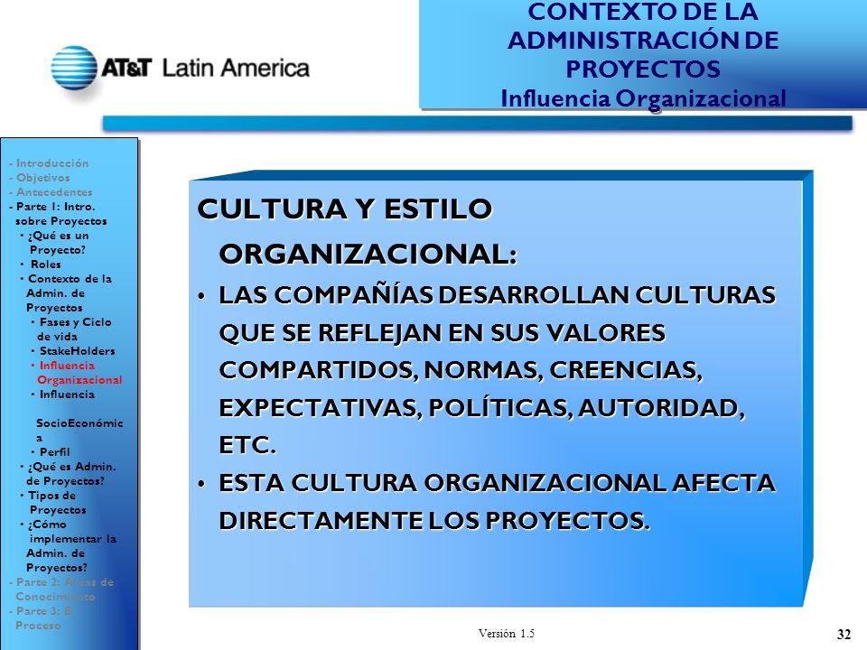 Versión 1.5 32 CULTURA Y ESTILO ORGANIZACIONAL: LAS COMPAÑÍAS DESARROLLAN CULTURAS QUE SE REFLEJAN EN SUS VALORES COMPARTIDOS, NORMAS, CREENCIAS, EXPECTATIVAS, POLÍTICAS, AUTORIDAD, ETC.LAS COMPAÑÍAS DESARROLLAN CULTURAS QUE SE REFLEJAN EN SUS VALORES COMPARTIDOS, NORMAS, CREENCIAS, EXPECTATIVAS, POLÍTICAS, AUTORIDAD, ETC.