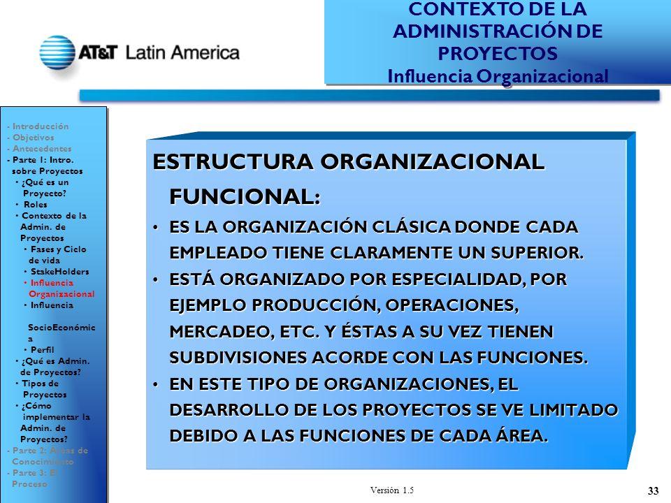 Versión 1.5 33 ESTRUCTURA ORGANIZACIONAL FUNCIONAL: ES LA ORGANIZACIÓN CLÁSICA DONDE CADA EMPLEADO TIENE CLARAMENTE UN SUPERIOR.ES LA ORGANIZACIÓN CLÁSICA DONDE CADA EMPLEADO TIENE CLARAMENTE UN SUPERIOR.