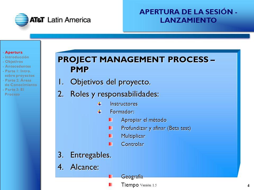 Versión 1.5 115 1 CICLO DE VIDA DE PROYECTOS TODOS GENERACIÓN DE IDEAS ÁREA DE IMPACTO(MERCADEO, FINANCIERA, etc.) PREFACTIBILIDAD 2 COMITÉEJECUTIVO APROBACIÓN PREFACTIBILIDAD 34 DEFINIR GERENTE 5 GERENTE DEL PROYECTO 6 FACTIBILIDAD 8 APROBACIÓN FACTIBILIDAD DESARROLLO DEL PROYECTO 9 10 DEFINIR ROLES PRELIMINARES DESIGNAR Patrocinador y Usuario Líder DESIGNAR EQUIPO DEL PROYECTO 1 7 ÁREA DE IMPACTO - Introducción - Objetivos - Antecedentes - Parte 1: Intro.