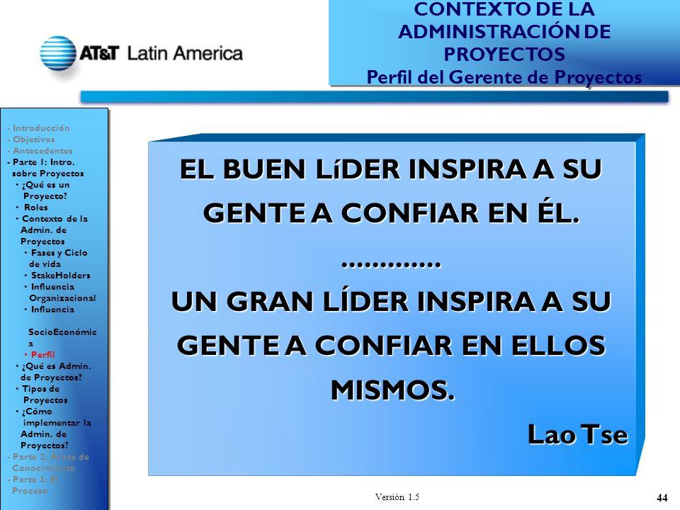 Versión 1.5 44 EL BUEN LíDER INSPIRA A SU GENTE A CONFIAR EN ÉL..............