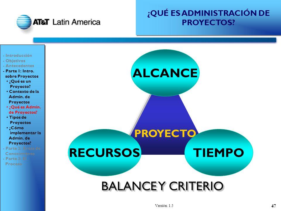 Versión 1.5 47 PROYECTO ALCANCE RECURSOSTIEMPO ¿QUÉ ES ADMINISTRACIÓN DE PROYECTOS.