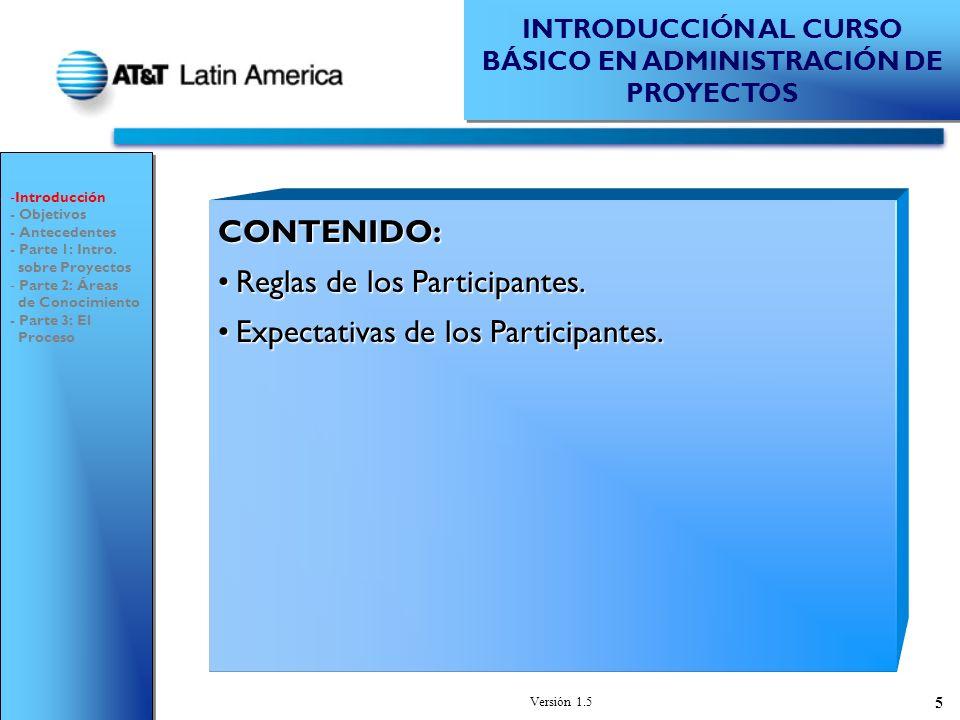 Versión 1.5 86 EQUIPOEQUIPO ADMINISTRACIÓN DE PROYECTOS - Introducción - Objetivos - Antecedentes - Parte 1: Intro.