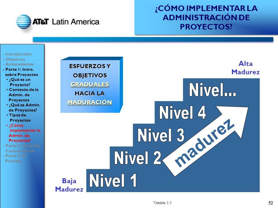 Versión 1.5 52 ESFUERZOS Y OBJETIVOS GRADUALES HACIA LA MADURACIÓN madurez Baja Madurez Alta Madurez - Introducción - Objetivos - Antecedentes - Parte 1: Intro.