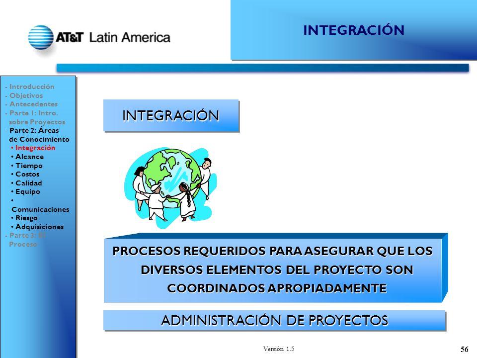 Versión 1.5 56 INTEGRACIÓNINTEGRACIÓN ADMINISTRACIÓN DE PROYECTOS - Introducción - Objetivos - Antecedentes - Parte 1: Intro.