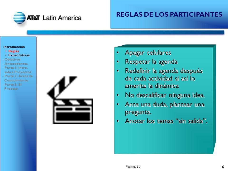Versión 1.5 7 EXPECTATIVAS DE LOS PARTICIPANTES ¿En qué Proyecto ha participado y cuál ha sido su experiencia?¿En qué Proyecto ha participado y cuál ha sido su experiencia.