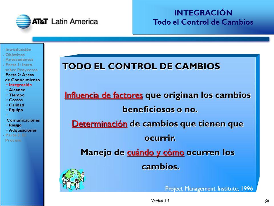 Versión 1.5 60 TODO EL CONTROL DE CAMBIOS Influencia de factores que originan los cambios beneficiosos o no.