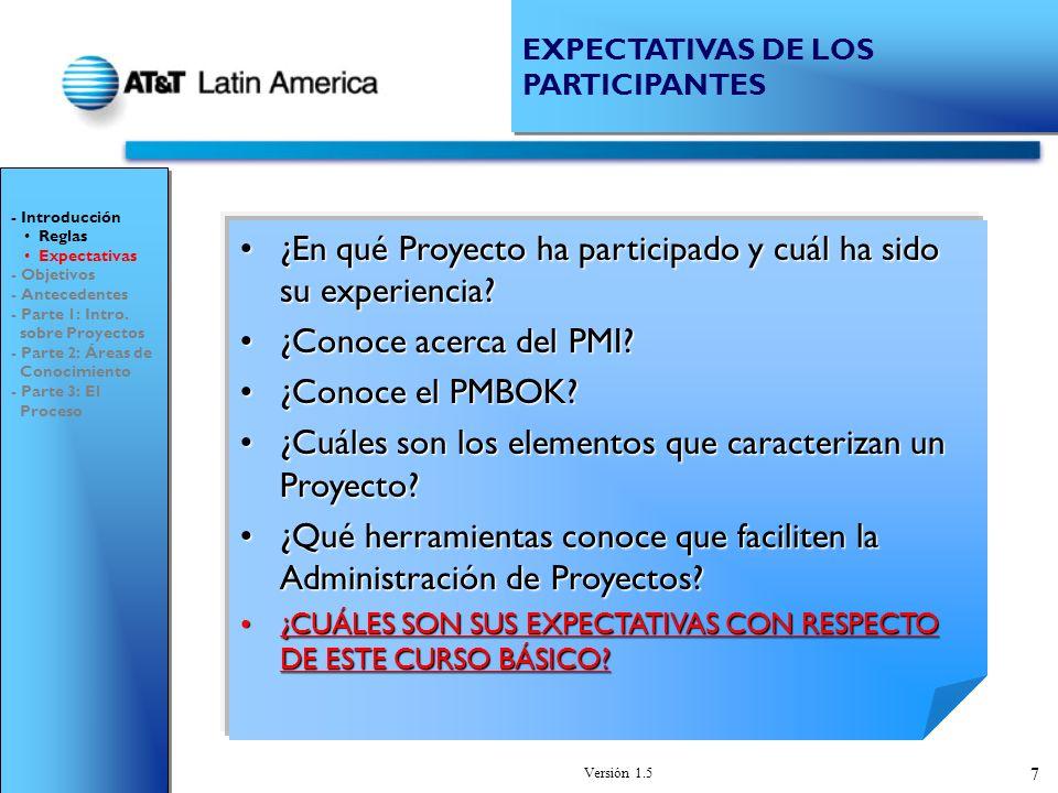 Versión 1.5 48 Productos y Servicios Productividad / Problemas TIPOS DE PROYECTOS - Introducción - Objetivos - Antecedentes - Parte 1: Intro.