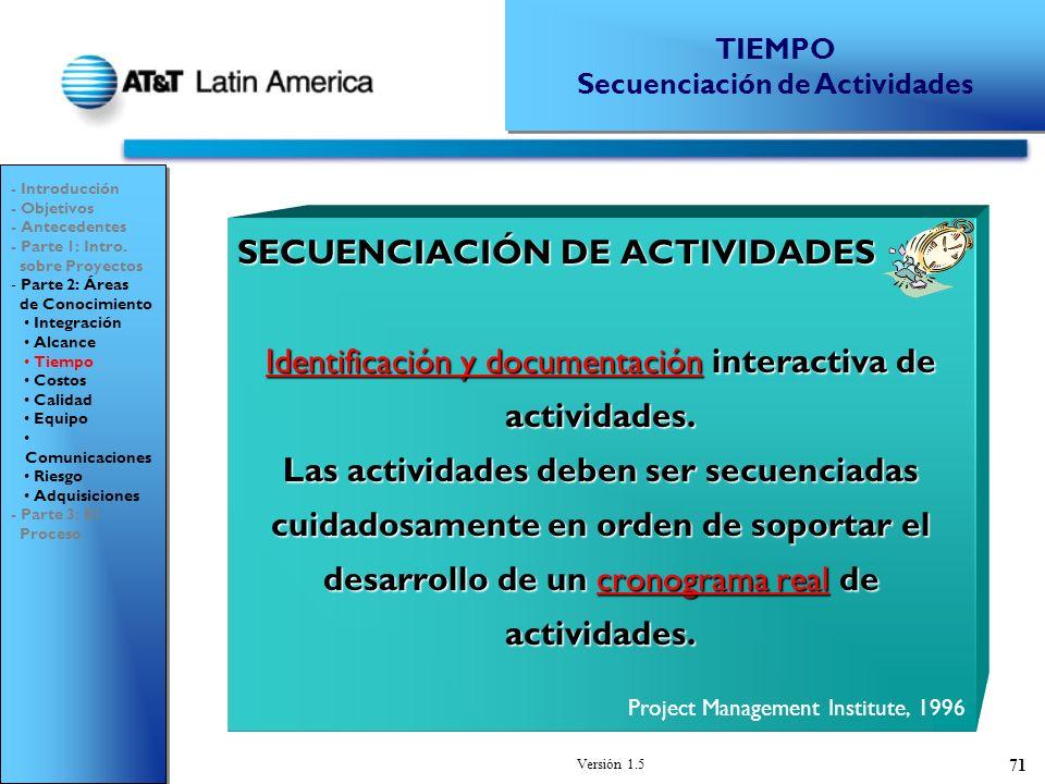 Versión 1.5 71 SECUENCIACIÓN DE ACTIVIDADES Identificación y documentación interactiva de actividades.