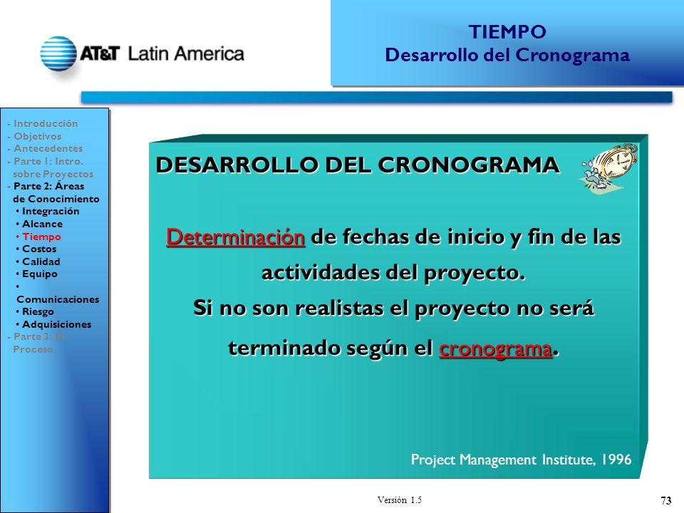 Versión 1.5 73 DESARROLLO DEL CRONOGRAMA Determinación de fechas de inicio y fin de las actividades del proyecto.
