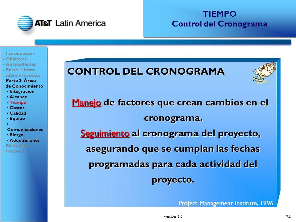 Versión 1.5 74 CONTROL DEL CRONOGRAMA Manejo de factores que crean cambios en el cronograma.