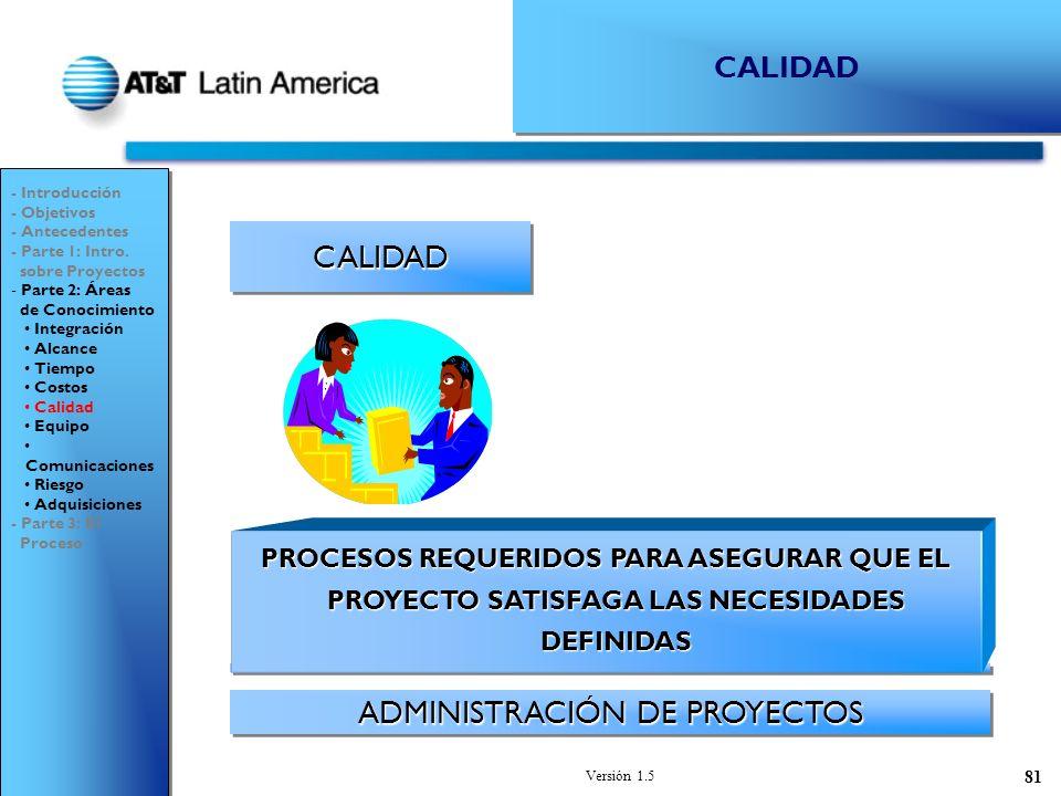 Versión 1.5 81 CALIDADCALIDAD ADMINISTRACIÓN DE PROYECTOS - Introducción - Objetivos - Antecedentes - Parte 1: Intro.