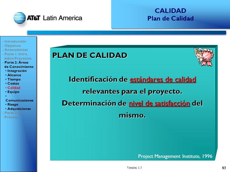Versión 1.5 83 PLAN DE CALIDAD Identificación de estándares de calidad relevantes para el proyecto.