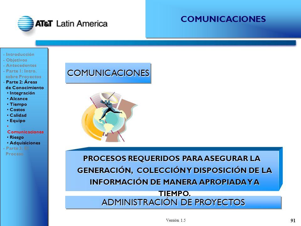 Versión 1.5 91 COMUNICACIONESCOMUNICACIONES ADMINISTRACIÓN DE PROYECTOS - Introducción - Objetivos - Antecedentes - Parte 1: Intro.