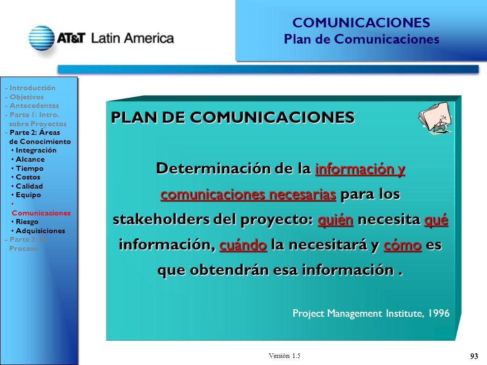 Versión 1.5 93 PLAN DE COMUNICACIONES Determinación de la información y comunicaciones necesarias para los stakeholders del proyecto: quién necesita qué información, cuándo la necesitará y cómo es que obtendrán esa información.