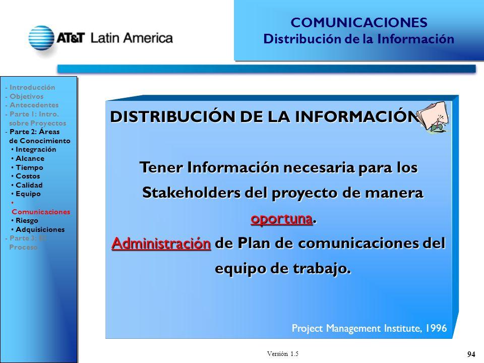 Versión 1.5 94 DISTRIBUCIÓN DE LA INFORMACIÓN Tener Información necesaria para los Stakeholders del proyecto de manera oportuna.