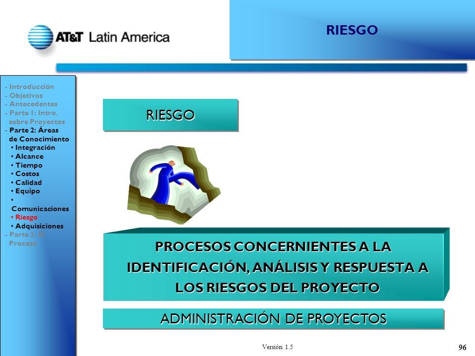 Versión 1.5 96 RIESGORIESGO ADMINISTRACIÓN DE PROYECTOS - Introducción - Objetivos - Antecedentes - Parte 1: Intro.