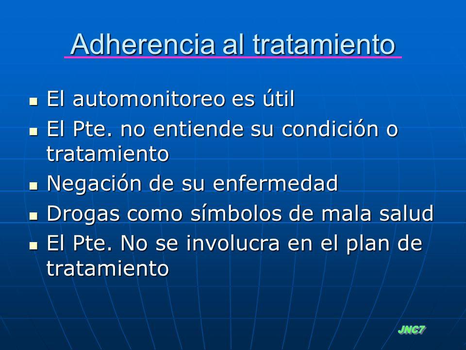 Adherencia al tratamiento El automonitoreo es útil El automonitoreo es útil El Pte. no entiende su condición o tratamiento El Pte. no entiende su cond
