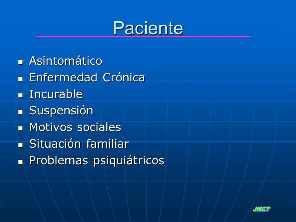 Asintomático Asintomático Enfermedad Crónica Enfermedad Crónica Incurable Incurable Suspensión Suspensión Motivos sociales Motivos sociales Situación