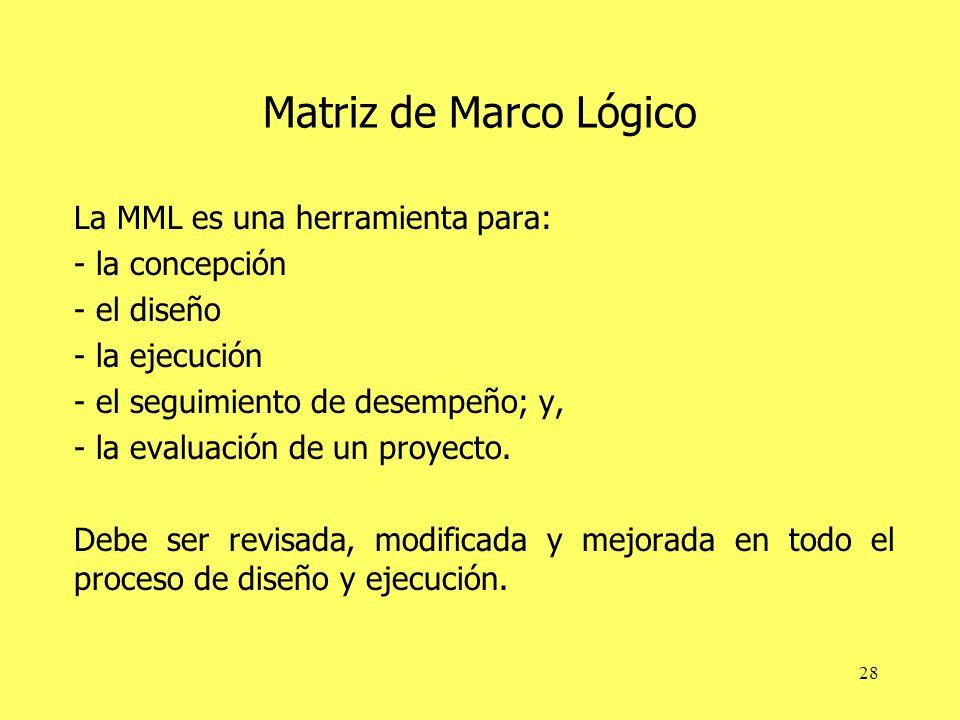 28 Matriz de Marco Lógico La MML es una herramienta para: - la concepción - el diseño - la ejecución - el seguimiento de desempeño; y, - la evaluación de un proyecto.