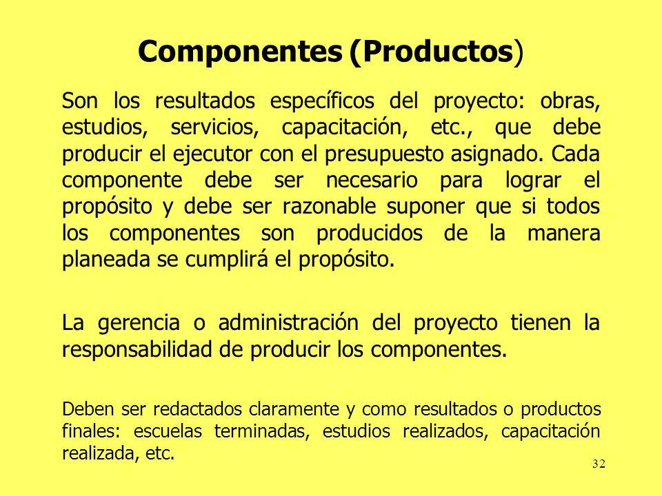 32 Componentes (Productos) Son los resultados específicos del proyecto: obras, estudios, servicios, capacitación, etc., que debe producir el ejecutor con el presupuesto asignado.