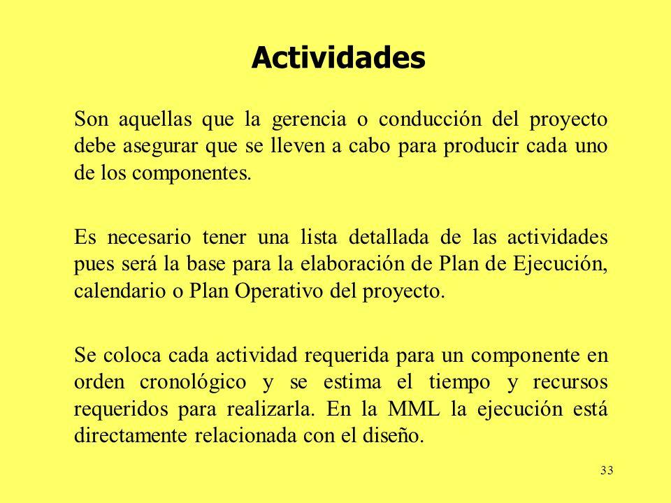33 Actividades Son aquellas que la gerencia o conducción del proyecto debe asegurar que se lleven a cabo para producir cada uno de los componentes.
