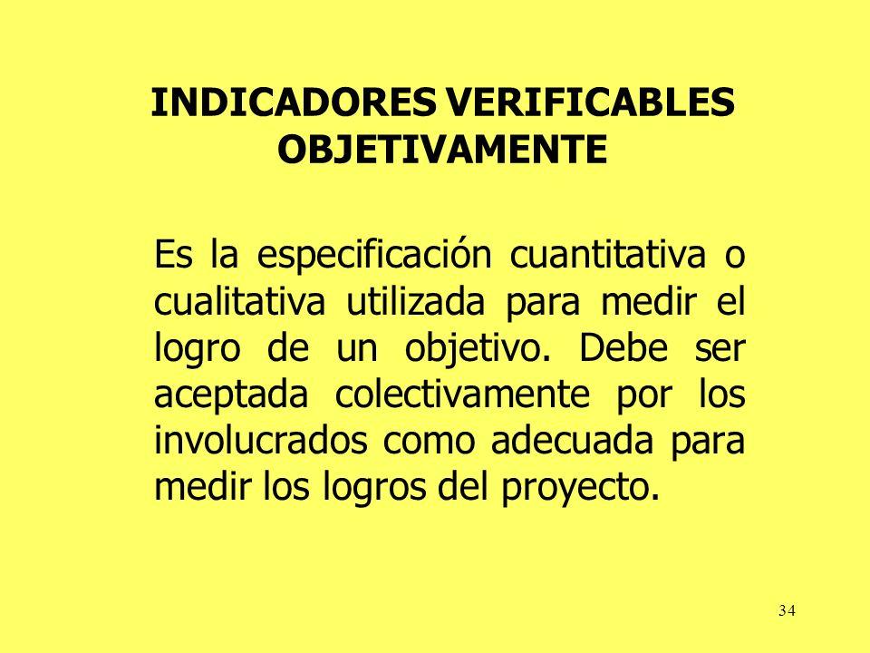 34 INDICADORES VERIFICABLES OBJETIVAMENTE Es la especificación cuantitativa o cualitativa utilizada para medir el logro de un objetivo.