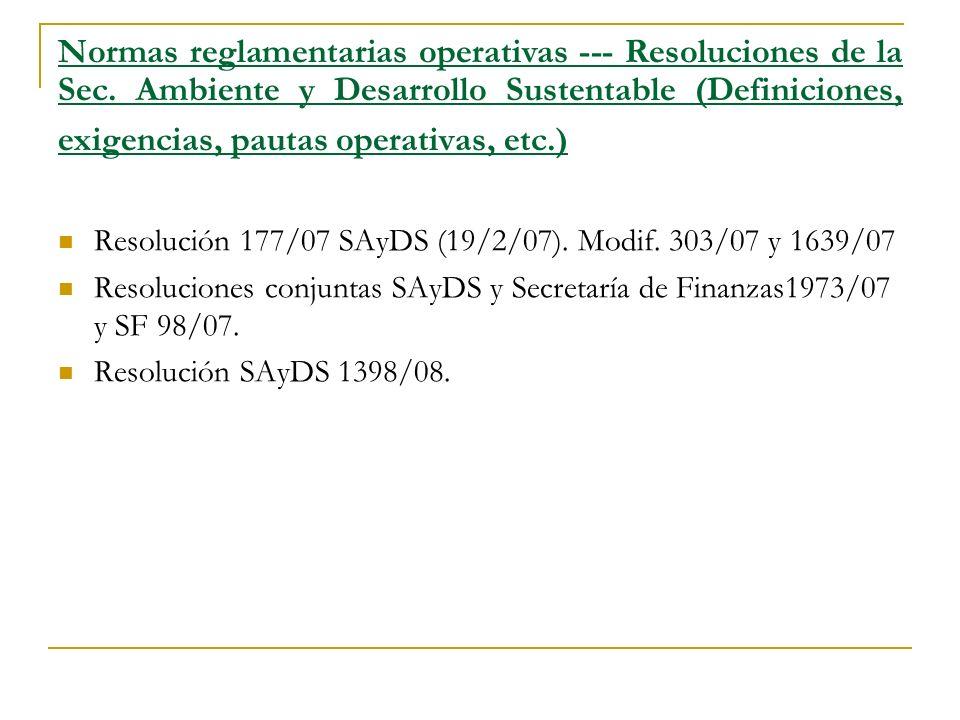 Normas reglamentarias operativas --- Resoluciones de la Sec.