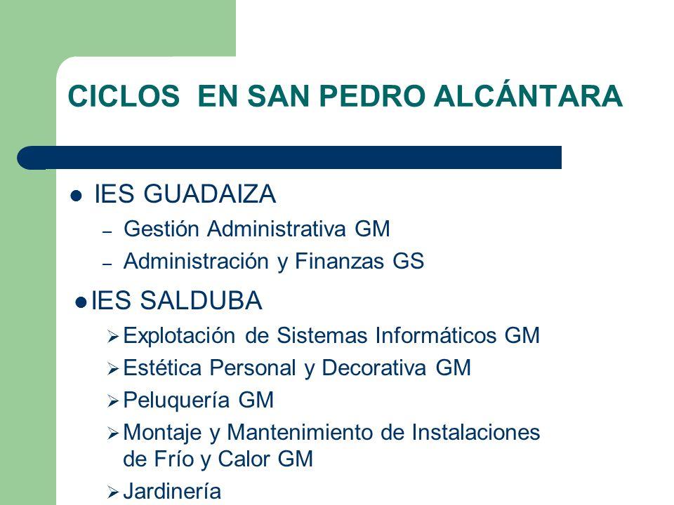 Ciclos en San Pedro Alcántara I.E.S. Vega de Mar I.E.S. Vega de Mar Atención Sociosanitaria GM Atención Sociosanitaria GM