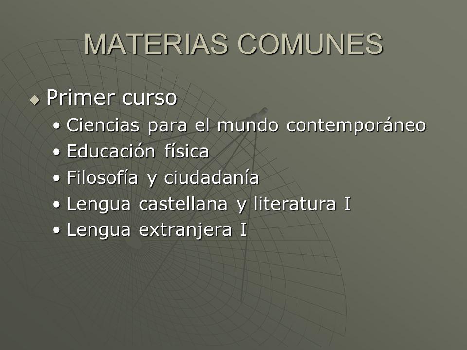 Tipos de materias: Comunes Propias de modalidad Optativas FINALIDAD FINALIDAD Obtención del título de bachiller que permite acceder a la universidad (