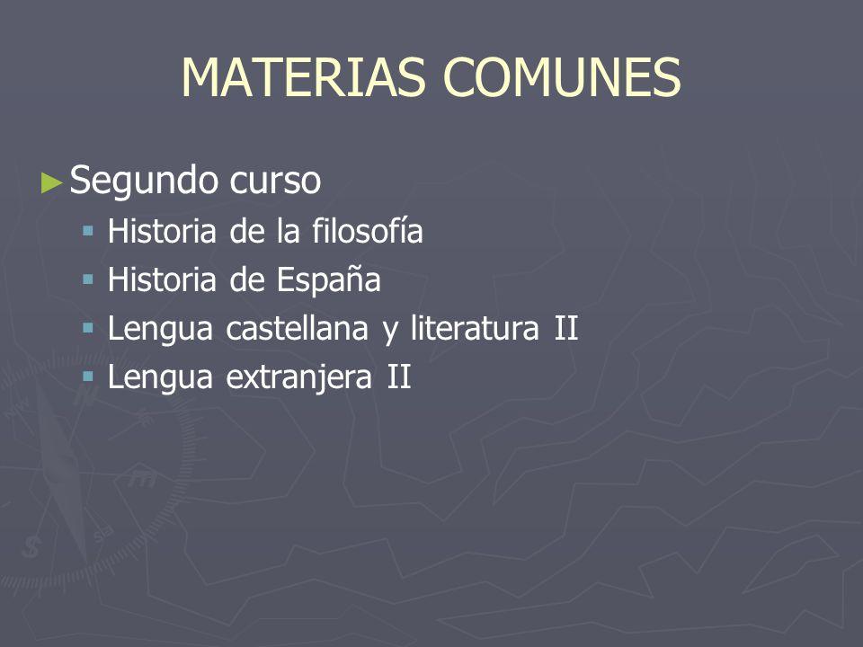 MATERIAS COMUNES Primer curso Primer curso Ciencias para el mundo contemporáneoCiencias para el mundo contemporáneo Educación físicaEducación física Filosofía y ciudadaníaFilosofía y ciudadanía Lengua castellana y literatura ILengua castellana y literatura I Lengua extranjera ILengua extranjera I