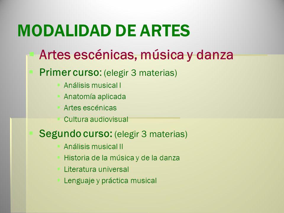 MODALIDAD DE ARTES (dos vías) Artes Plásticas, diseño e imagen Primer curso: (elegir 3 materias) Dibujo artístico I Dibujo técnico I Volumen Cultura a