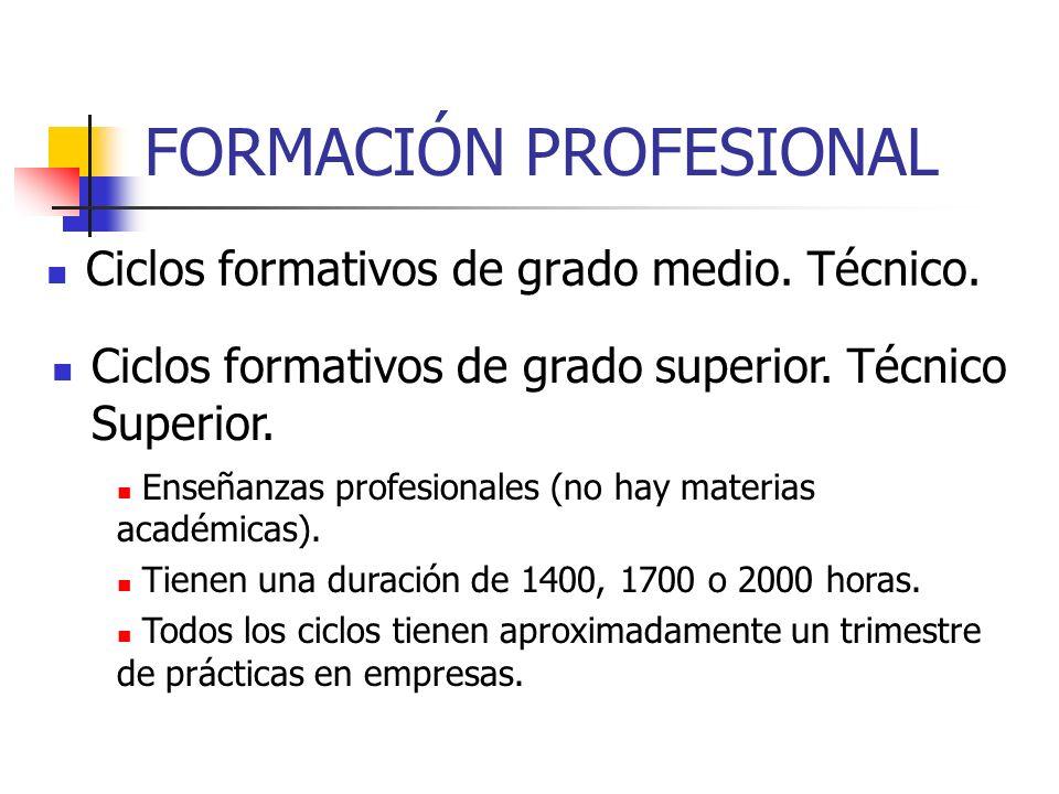 FORMACIÓN PROFESIONAL Ciclos formativos de grado medio.