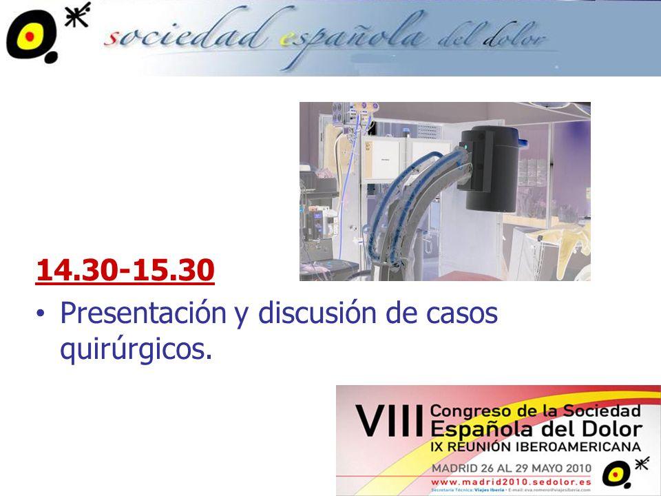15.30-19.00 CASO 1: Bloqueo Epidural Interlaminar CASO 2: Bloqueo Epidural Transforaminal CASO 3: Bloqueo Diagnóstico de Facetas CASO 4: Radiofrecuencia del Ramo Medial Lumbar