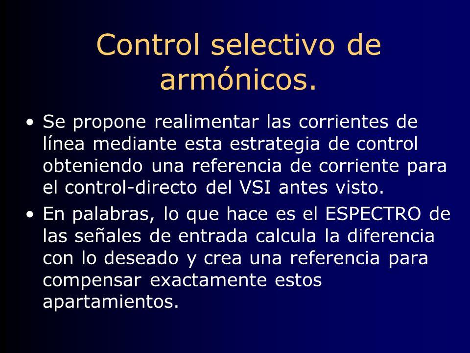 Control selectivo de armónicos. Se propone realimentar las corrientes de línea mediante esta estrategia de control obteniendo una referencia de corrie
