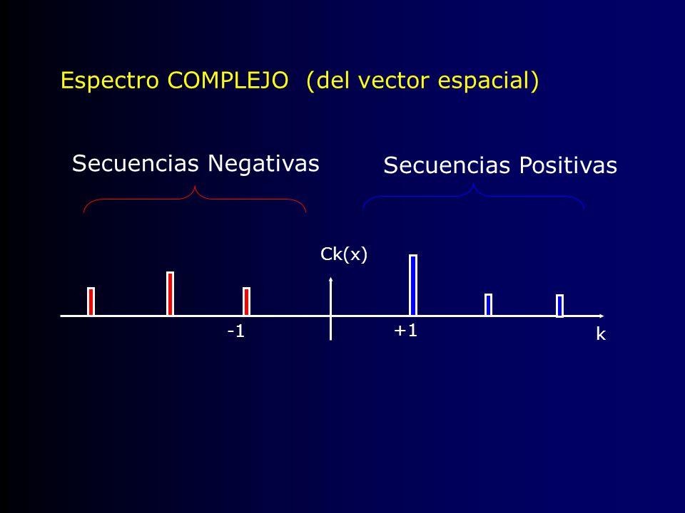 Ck(x) +1 Secuencias Positivas Secuencias Negativas Espectro COMPLEJO (del vector espacial) k