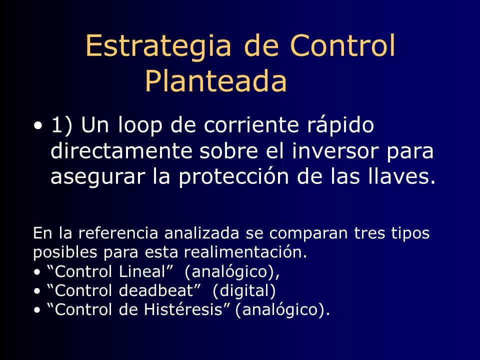 Estrategia de Control Planteada 1) Un loop de corriente rápido directamente sobre el inversor para asegurar la protección de las llaves. En la referen