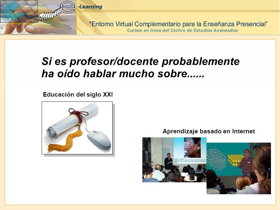 Si es profesor/docente probablemente ha oído hablar mucho sobre...... Educación del siglo XXI Aprendizaje basado en Internet