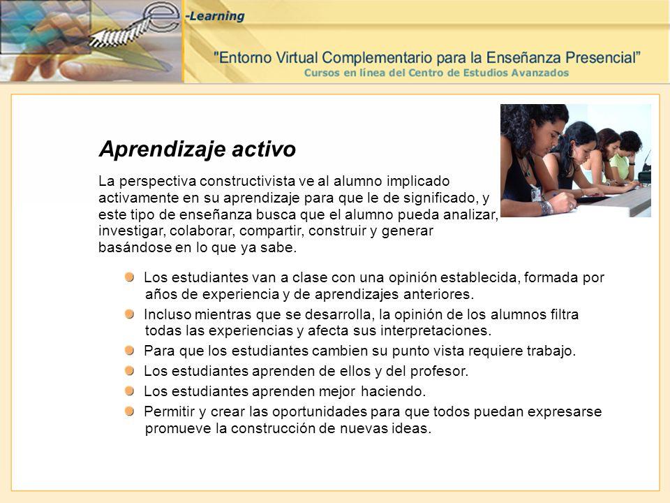 Aprendizaje activo La perspectiva constructivista ve al alumno implicado activamente en su aprendizaje para que le de significado, y este tipo de ense