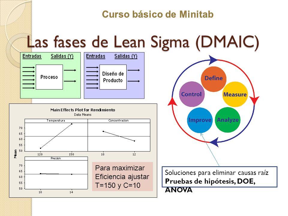 Curso básico de Minitab Las fases de Lean Sigma (DMAIC) Soluciones para eliminar causas raíz Pruebas de hipótesis, DOE, ANOVA Para maximizar Eficienci