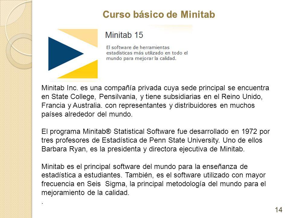 Curso básico de Minitab 14 Minitab Inc. es una compañía privada cuya sede principal se encuentra en State College, Pensilvania, y tiene subsidiarias e